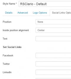 Social Links Options tab