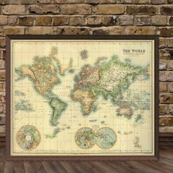 Art print vintage retro the world map paper poster large 5000 gumiabroncs Image collections