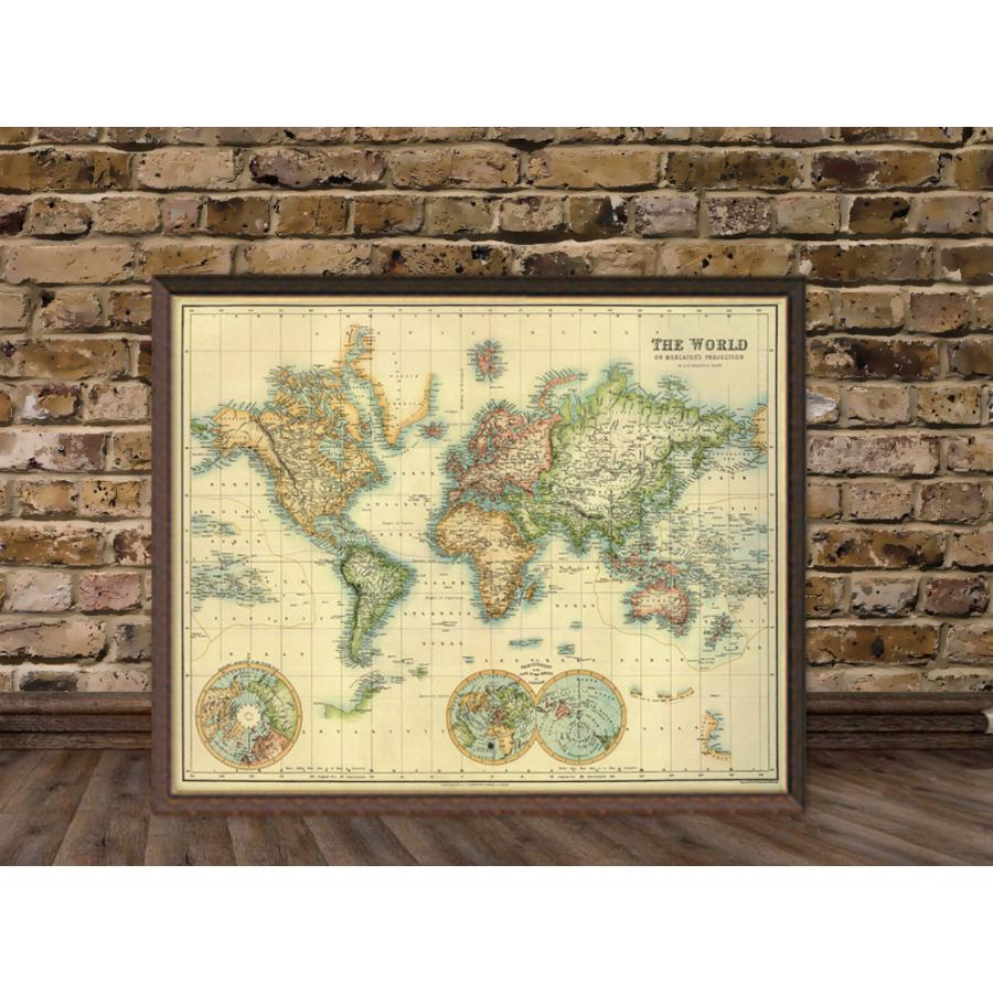 Art Print Vintage Retro The World Map Paper Poster Large - $50.00